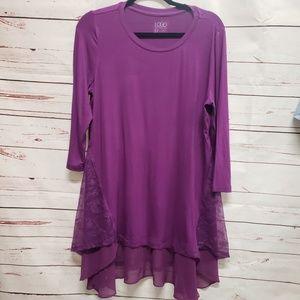 Logo Lori Goldstein purple tunic blouse e8